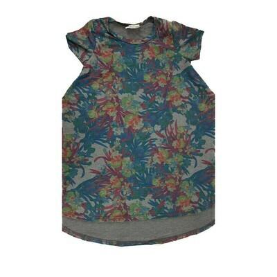 Kids Scarlett LuLaRoe Floral Gray Maroon Dark Blue Swing Dress Size 4 fits kids 3-4