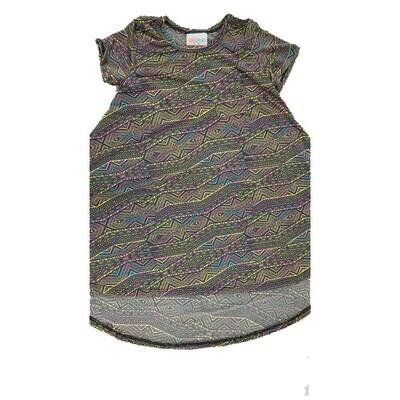 Kids Scarlett LuLaRoe Geometric Gray Yellow Purple Swing Dress Size 4 fits kids 3-4