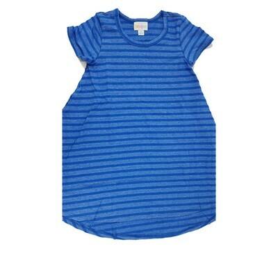 Kids Scarlett LuLaRoe Geometric Dark Blue with Light Blue Stripe Swing Dress Size 6 fits kids 5-6