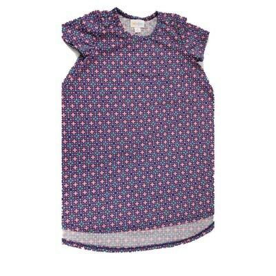 Kids Scarlett LuLaRoe Floral Pink Blue Purple Polka Dot Swing Dress Size 6 fits kids 5-6