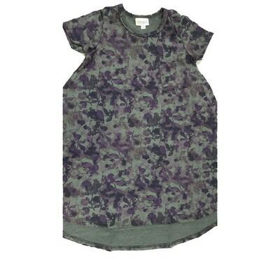 Kids Scarlett LuLaRoe Floral Gray Purple Swing Dress Size 6 fits kids 5-6