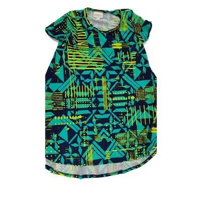 Kids Scarlett LuLaRoe Geometric Teal Yellow Black Swing Dress Size 6 fits kids 5-6