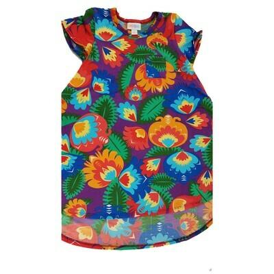 Kids Scarlett LuLaRoe Floral Purple Orange Green Swing Dress Size 6 fits kids 5-6