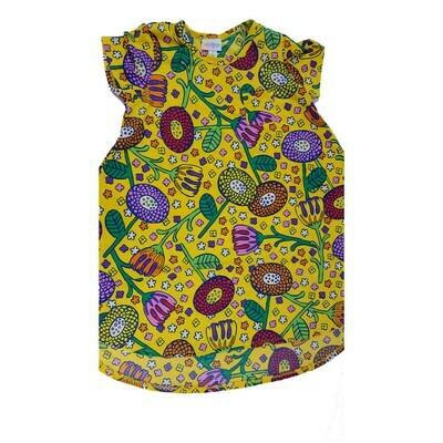 Kids Scarlett LuLaRoe Floral Yellow Purple Green Swing Dress Size 8 fits kids 7-8