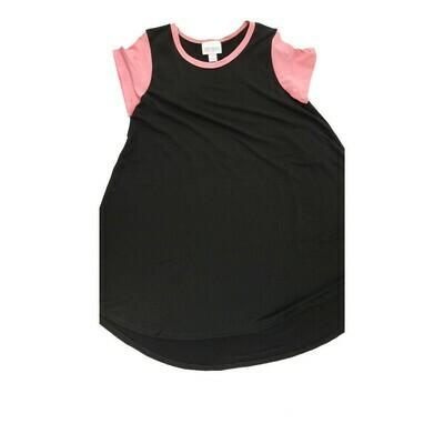Kids Scarlett LuLaRoe Solid Black with Pink Sleeves Swing Dress Size 8 fits kids 7-8
