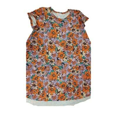 Kids Scarlett LuLaRoe Floral Lavender Orange Yellow Swing Dress Size 8 fits kids 7-8
