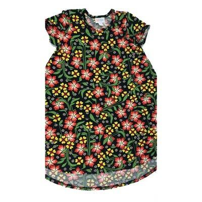 Kids Scarlett LuLaRoe Floral Black Orange Yellow Swing Dress Size 8 fits kids 7-8