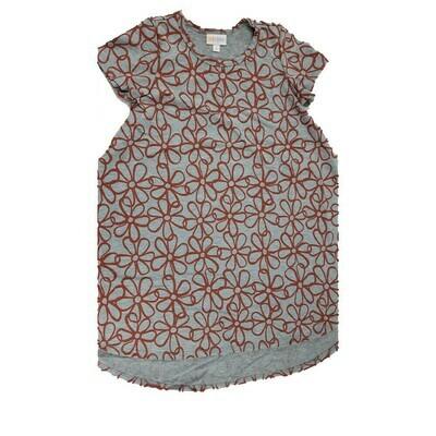 Kids Scarlett LuLaRoe Floral Gray with Red Swing Dress Size 8 fits kids 7-8