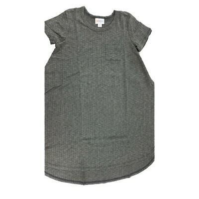 Kids Scarlett LuLaRoe Solid Gray Stripe Swing Dress Size 8 fits kids 7-8
