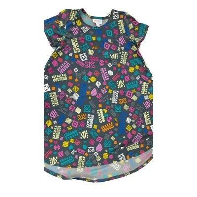 Kids Scarlett LuLaRoe Geometric Dark Gray Pink Blue Swing Dress Size 8 fits kids 7-8