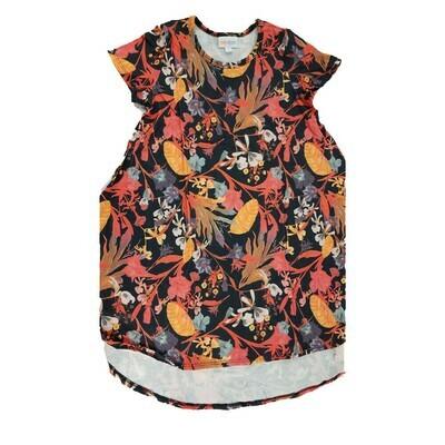 Kids Scarlett LuLaRoe Floral Black Coral Orange Swing Dress Size 8 fits kids 7-8