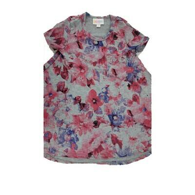 Kids Scarlett LuLaRoe Gray Pink Lavender Floral w/ Pocket Swing Dress Size 2 fits kids 2T-4