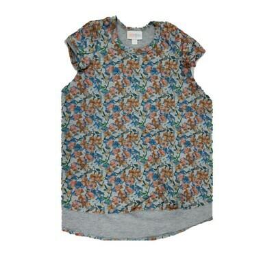 Kids Scarlett LuLaRoe Gray Peach Blue Floral Swing Dress Size 2 fits kids 2T-4