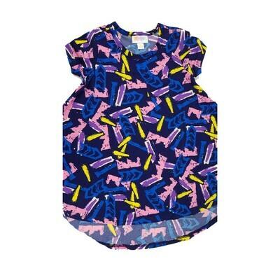 Kids Scarlett LuLaRoe Navy Blue Yellow  Chevron Geometric Swing Dress Size 2 fits kids 2T-4