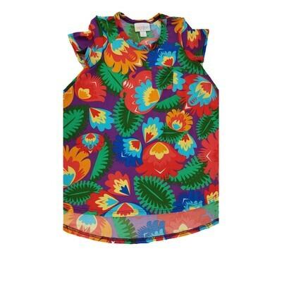 Kids Scarlett LuLaRoe Rainbow Color Flowers on Purple w/ Pocket Swing Dress Size 2 fits kids 2T-4