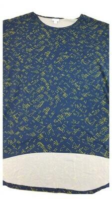 IRMA Blue and Gold Geometric Legging Material Large (L) LuLaRoe Tunic fits 15.99-18