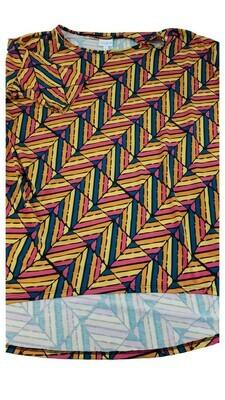 IRMA Pink Orange Yellow and Blue Chevron Geometric Large (L) LuLaRoe Womens Tunic Fits Sizes 15.99-18