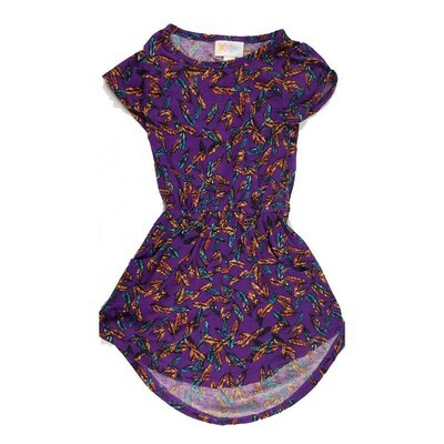 Kids Mae LuLaRoe Dark Purple Orange Multicolor Feathers Pocket Dress Size 2 fits kids 2T-4
