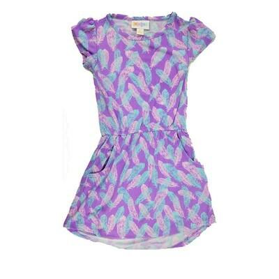 Kids Mae LuLaRoe Lavender Light Blue Feathers Pocket Dress Size 2 fits kids 2T-4