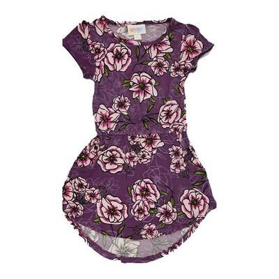 Kids Mae LuLaRoe Floral Purple Light Pink Pocket Dress Size 2 fits kids 2T-4