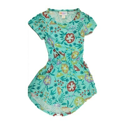 Kids Mae LuLaRoe Floral Light Green Yellow Pocket Dress Size 2 fits kids 2T-4