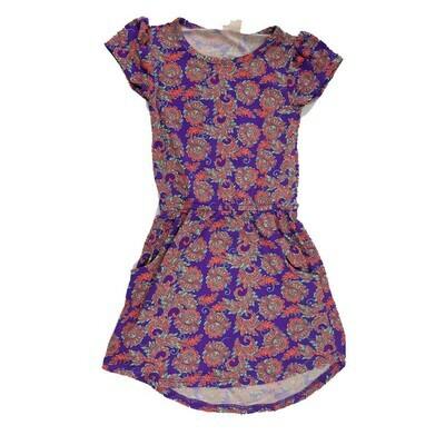 Kids Mae LuLaRoe Floral Deep Purple Orange Pocket Dress Size 2 fits kids 2T-4