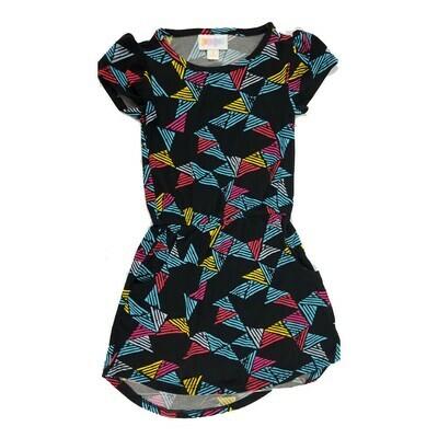 Kids Mae LuLaRoe Geometric Black Light Blue Pink Pocket Dress Size 2 fits kids 2T-4