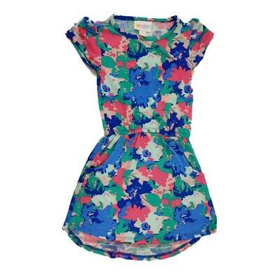 Kids Mae LuLaRoe Geometric Deep Blue Pink Beige Pocket Dress Size 2 fits kids 2T-4