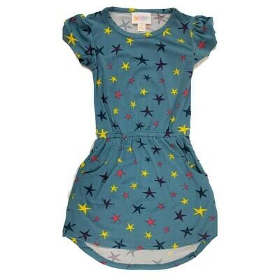 Kids Mae LuLaRoe Light Blue with Yellow Dark Blue Stars Pocket Dress Size 2 fits kids 2T-4