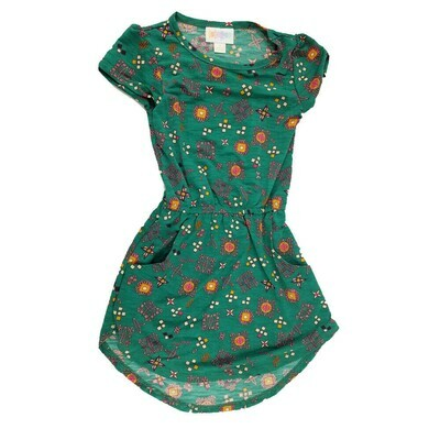 Kids Mae LuLaRoe Geometric Green Orange Pocket Dress Size 2 fits kids 2T-4