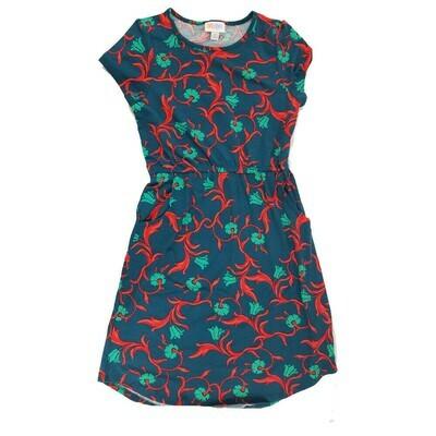 Kids Mae LuLaRoe Floral Dark Blue Red Pocket Dress Size 12 fits kids 12-14