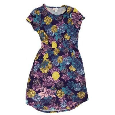 Kids Mae LuLaRoe Floral Dark Blue Yellow Lavender Pocket Dress Size 12 fits kids 12-14