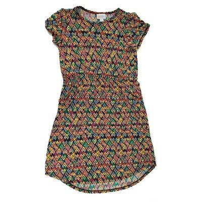 Kids Mae LuLaRoe Geometric Dark Blue Yellow Orange Pocket Dress Size 12 fits kids 12-14