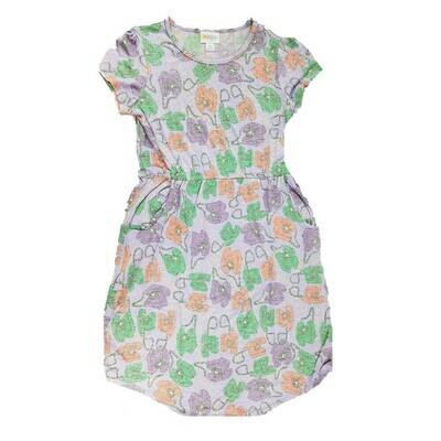 Kids Mae LuLaRoe Gray Lavender Purple Telephones Pocket Dress Size 12 fits kids 12-14