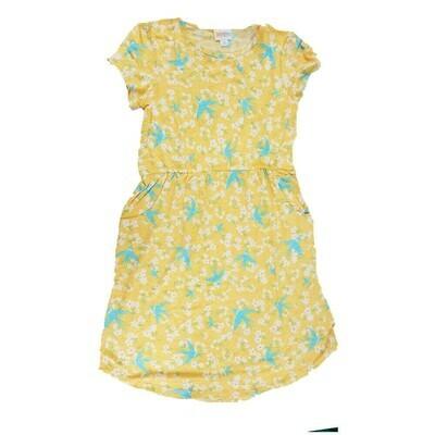 Kids Mae LuLaRoe Yellow Light Blue Birds Pocket Dress Size 12 fits kids 12-14