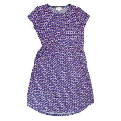 Kids Mae LuLaRoe Geometric Blue Yellow Pink Pocket Dress Size 12 fits kids 12-14