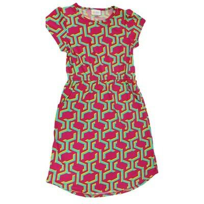Kids Mae LuLaRoe Geometric Fuchsia Light Green Pocket Dress Size 12 fits kids 12-14