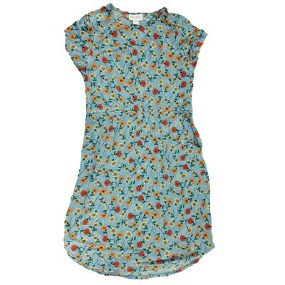 Kids Mae LuLaRoe Floral Light Blue Orange Red Pocket Dress Size 12 fits kids 12-14