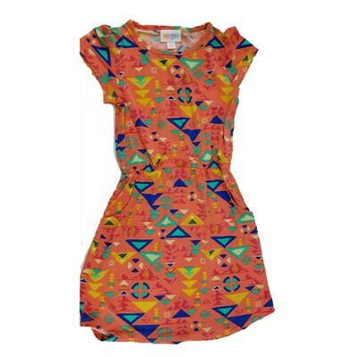 Kids Mae LuLaRoe Geometric Coral Blue Yellow Pocket Dress Size 6 fits kids 5-6