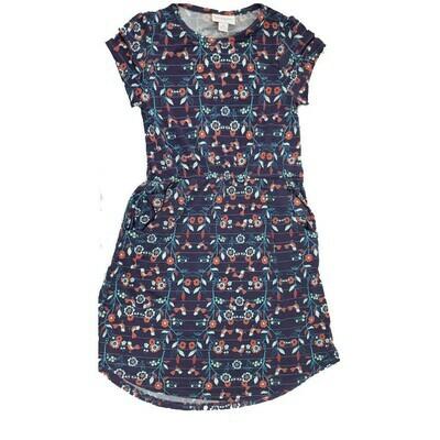 Kids Mae LuLaRoe Floral Dark Blue Purple Pocket Dress Size 8 fits kids 7-8