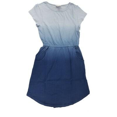 Kids Mae LuLaRoe Solid Blue Hombre Pocket Dress Size 8 fits kids 7-8