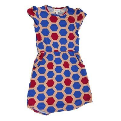 Kids Mae LuLaRoe Geometric Coral Blue Pink Hexagon Polka Dot Pocket Dress Size 8 fits kids 7-8