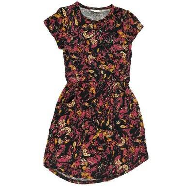 Kids Mae LuLaRoe Floral Black Pink Pocket Dress Size 8 fits kids 7-8