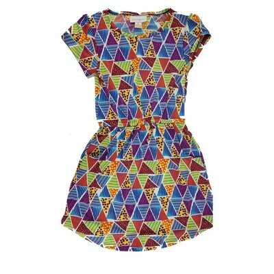 Kids Mae LuLaRoe Geometric Blue Yellow Red Pocket Dress Size 4 fits kids 3-4