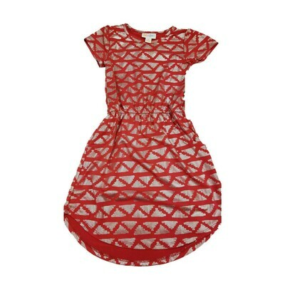 Kids Mae LuLaRoe Elegant Collection Geometric Red Metallic Silver  Pocket Dress Size 4 fits kids 3-4
