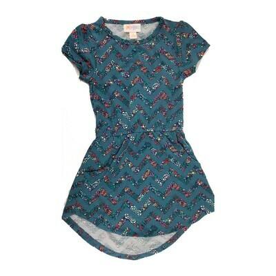 Kids Mae LuLaRoe Zig Zag Stripe Dark Blue Red Pocket Dress Size 2 fits kids 2T-4