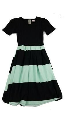 AMELIA Black and Mint Green Stripe XX-Small (XXS) LuLaRoe Womens Dress for sizes 00-0