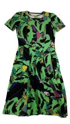 AMELIA Disney Sleeping Beauty Diaval Black Lime Green Yellow Medium (M) LuLaRoe Womens Dress for sizes 10-12