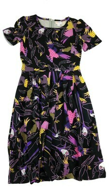 AMELIA Disney Maleficent and Diaval Sleeping Beauty Black Yellow Purple and Pink Small (S) LuLaRoe Womens Dress for sizes 6-8