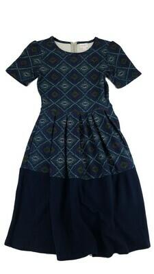 AMELIA Navy Purple and Yellow Geometric X-Small (XS) LuLaRoe Womens Dress for sizes 2-4